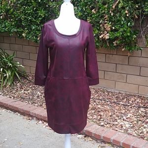NY&C vegan leather dress in burgundy. XS